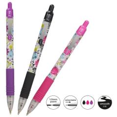 Olovka hemijska Zebra Z-Grip Floral Neon 1,0    3/set (Ink- Black, Pink, Violet) 02500/ 5024475025004